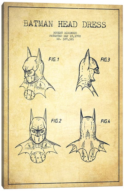 Robert Ringwood Batman Head Dress Patent Sketch (Vintage) Canvas Art Print
