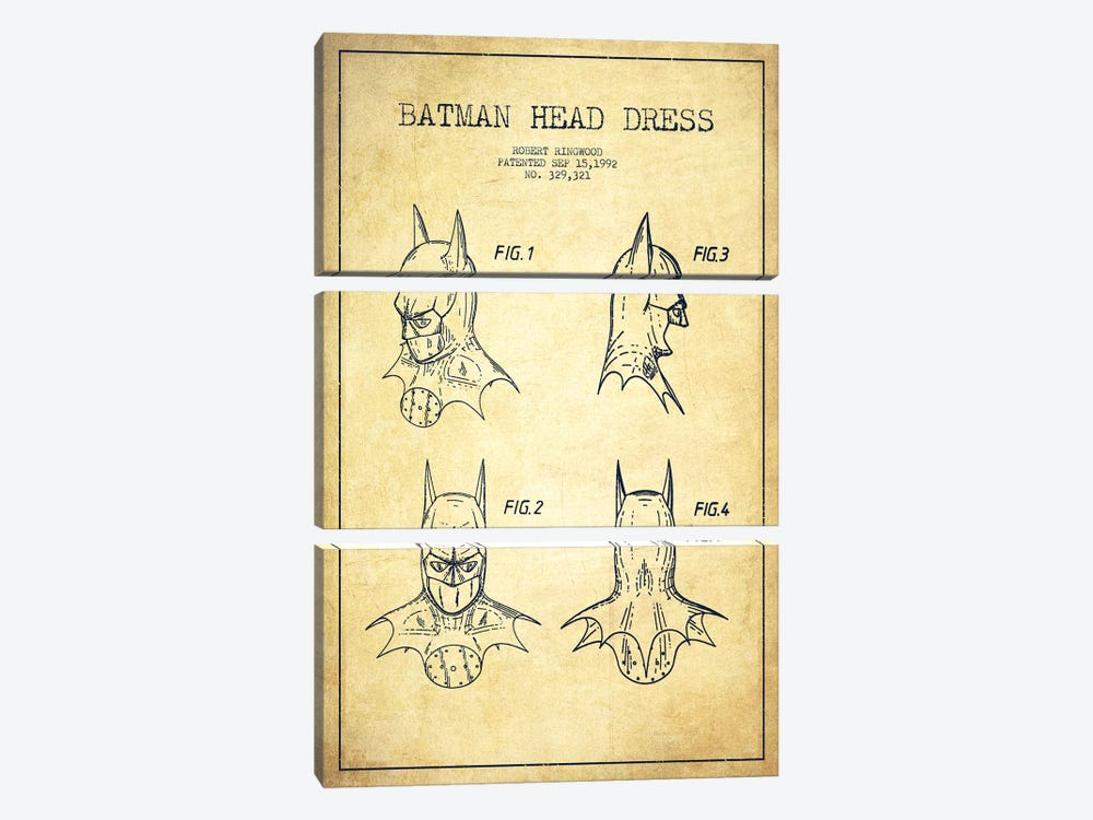 Robert Ringwood Batman Head Dress Patent Sketch (Vintage) by Aged Pixel 3-piece Canvas Wall Art