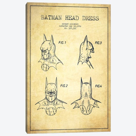 Robert Ringwood Batman Head Dress Patent Sketch (Vintage) 3-Piece Canvas #ADP3107} by Aged Pixel Canvas Print