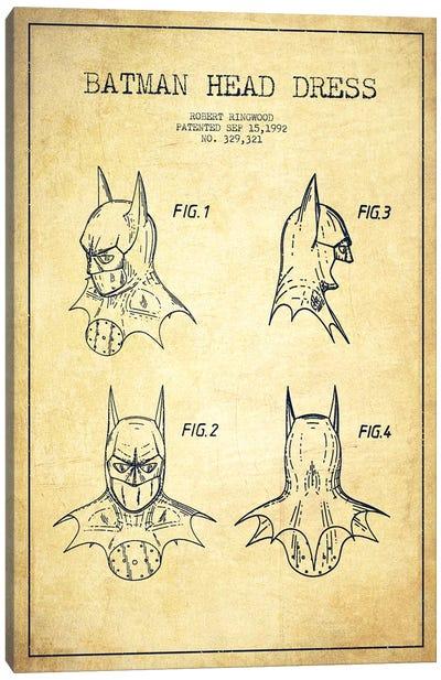 Robert Ringwood Batman Head Dress Patent Sketch (Vintage) Canvas Art Print