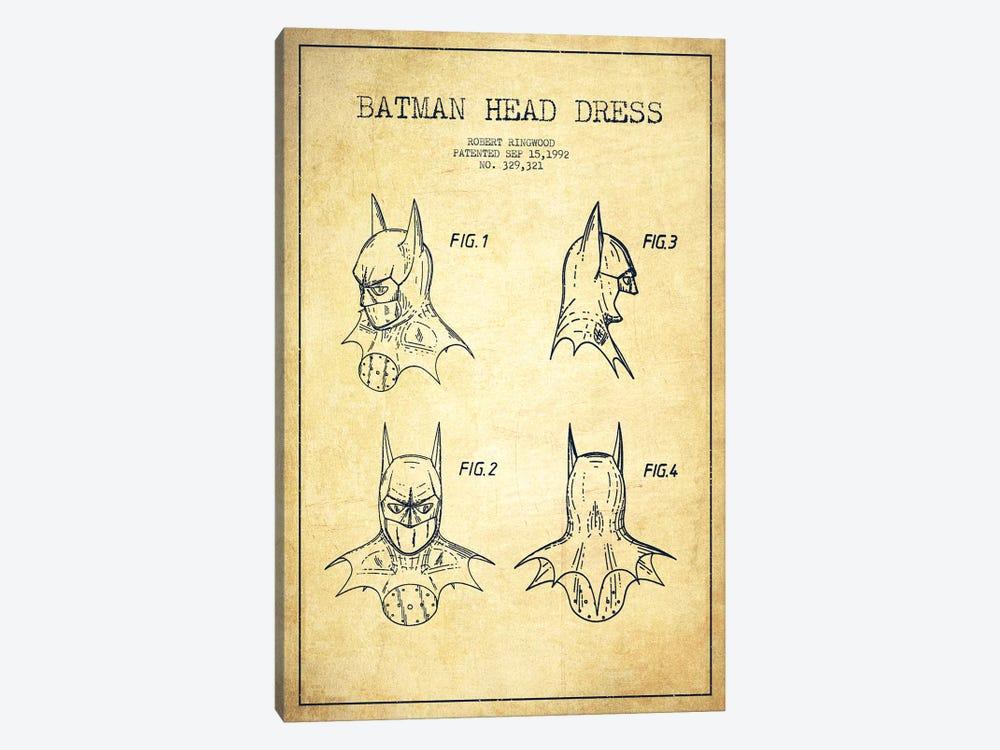 Robert Ringwood Batman Head Dress Patent Sketch (Vintage) by Aged Pixel 1-piece Canvas Art