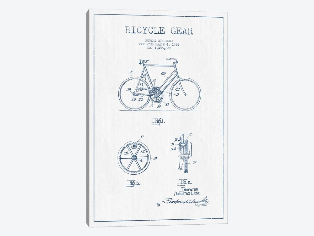 Robert Ringwood Bicycle Gear Patent Sketch (Ink) by Aged Pixel 1-piece Canvas Art Print