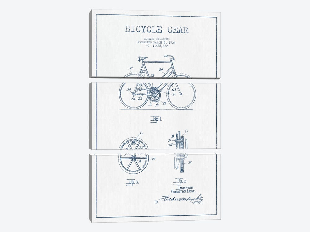 Robert Ringwood Bicycle Gear Patent Sketch (Ink) by Aged Pixel 3-piece Canvas Art Print