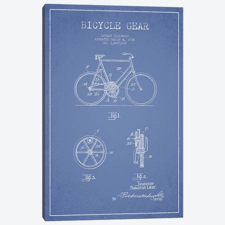 Robert Ringwood Bicycle Gear Patent Sketch (Light Blue) Canvas Print #ADP3109} by Aged Pixel Canvas Art