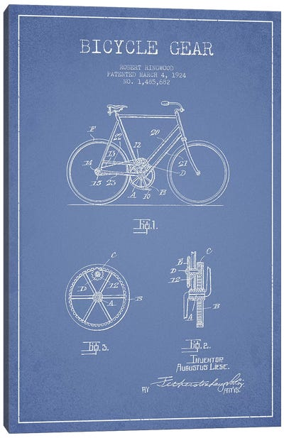 Robert Ringwood Bicycle Gear Patent Sketch (Light Blue) Canvas Art Print