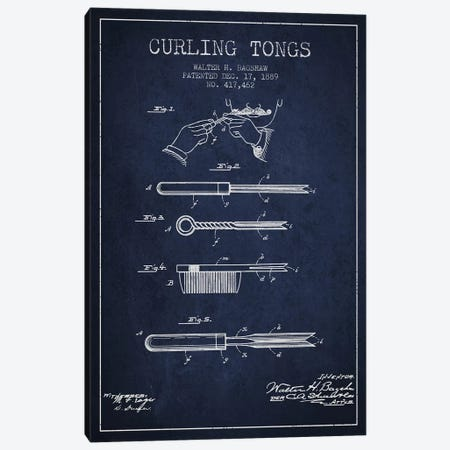 Curling Tongs Navy Blue Patent Blueprint Canvas Print #ADP310} by Aged Pixel Canvas Print