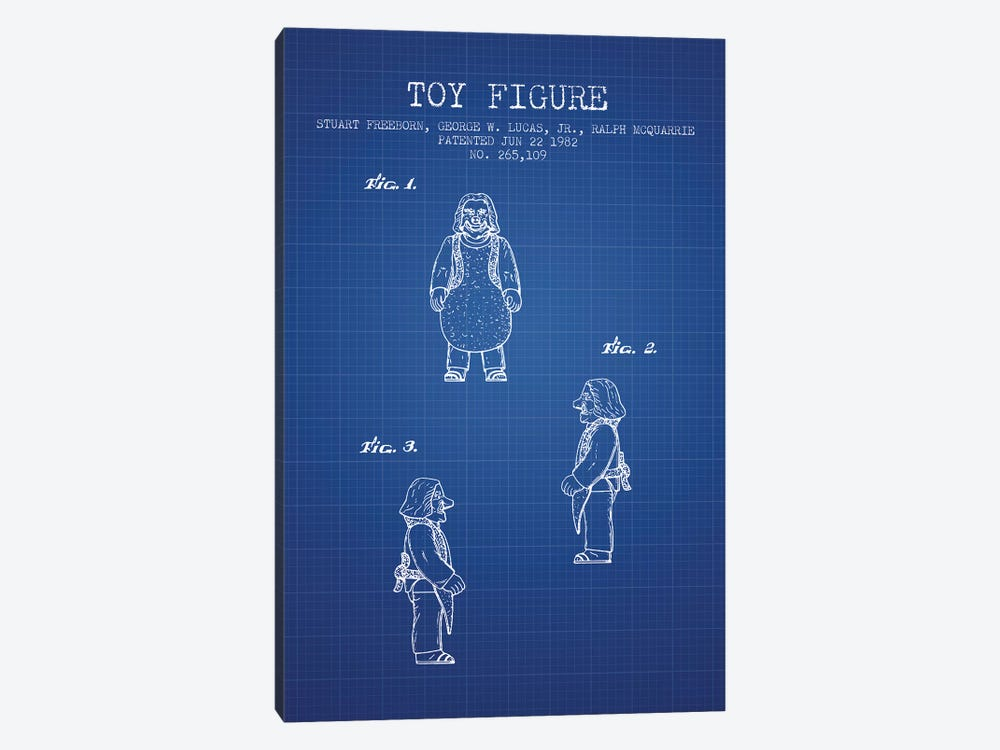 S. Freeborn & G. Lucas & R. McQuarrie Ugnaught Action Figure Patent Sketch (Blue Grid) by Aged Pixel 1-piece Canvas Wall Art