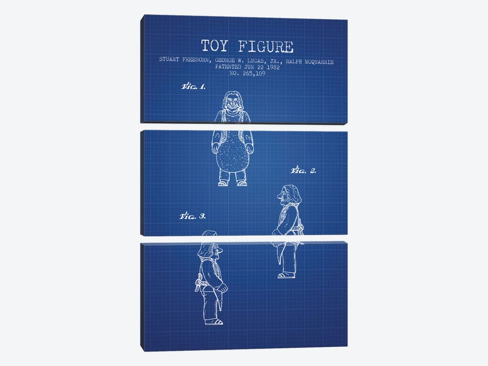 S. Freeborn & G. Lucas & R. McQuarrie Ugnaught Action Figure Patent Sketch (Blue Grid) by Aged Pixel 3-piece Canvas Art