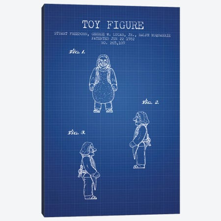S. Freeborn & G. Lucas & R. McQuarrie Ugnaught Action Figure Patent Sketch (Blue Grid) Canvas Print #ADP3112} by Aged Pixel Art Print
