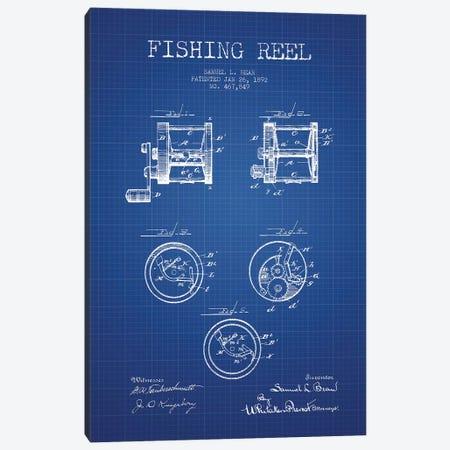 Samuel L. Bean Fishing Reel Patent Sketch (Blue Grid) Canvas Print #ADP3113} by Aged Pixel Art Print