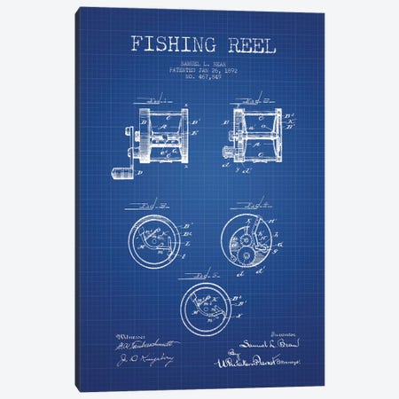 Samuel L. Bean Fishing Reel Patent Sketch (Blue Grid) Canvas Print #ADP3113} by Aged Pixel Art Print