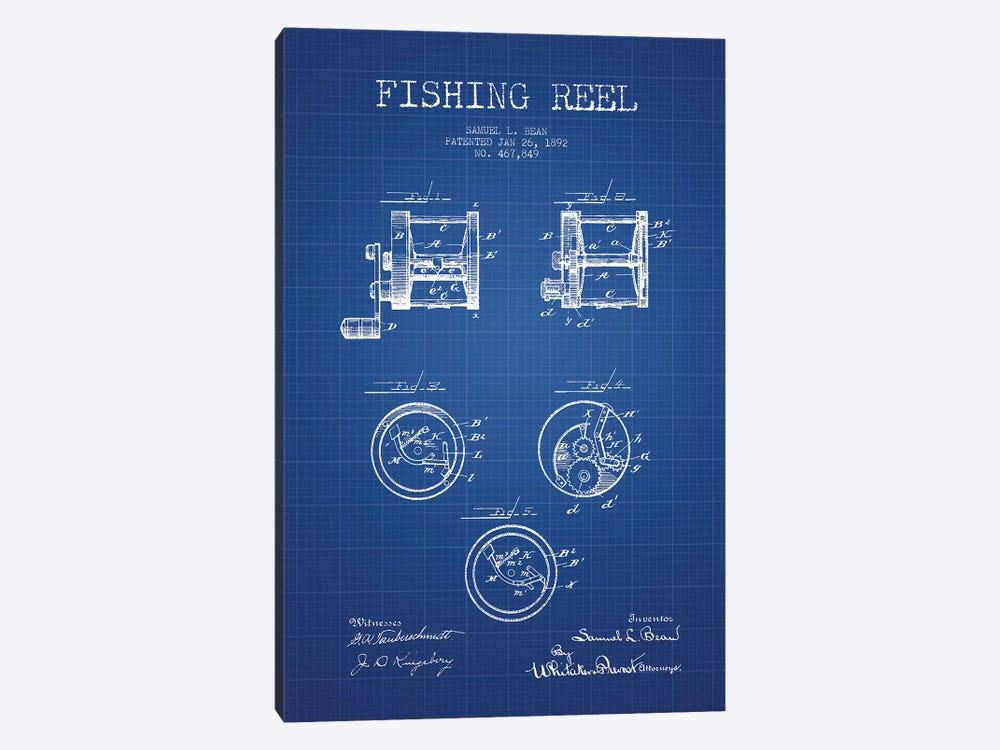 Samuel L. Bean Fishing Reel Patent Sketch (Blue Grid) by Aged Pixel 1-piece Art Print