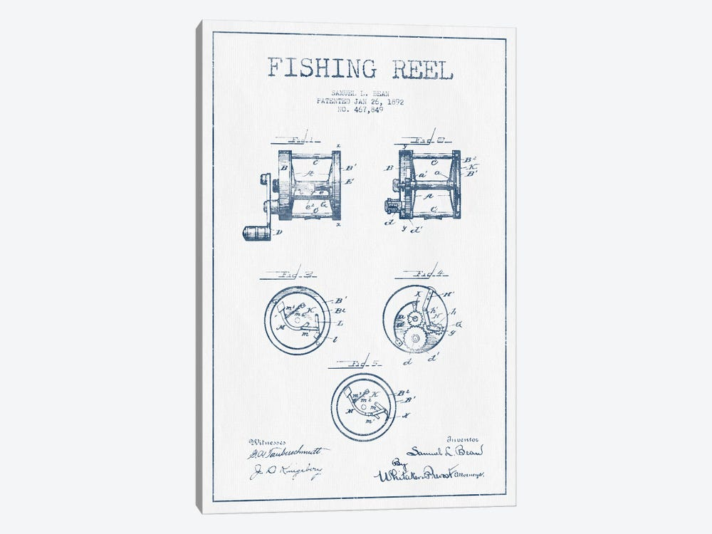 Samuel L. Bean Fishing Reel Patent Sketch (Ink) by Aged Pixel 1-piece Canvas Artwork