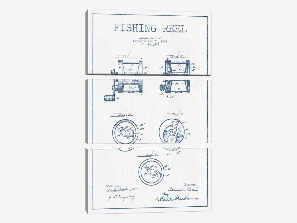 Samuel L. Bean Fishing Reel Patent Sketch (Ink) by Aged Pixel 3-piece Canvas Wall Art
