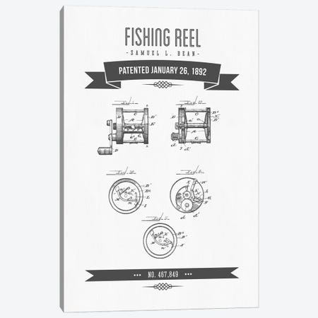 Samuel L. Bean Fishing Reel Patent Sketch Retro (Charcoal) Canvas Print #ADP3115} by Aged Pixel Canvas Art
