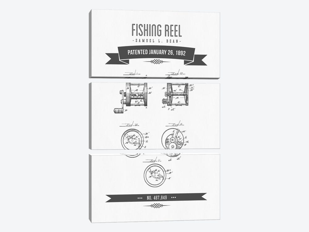 Samuel L. Bean Fishing Reel Patent Sketch Retro (Charcoal) by Aged Pixel 3-piece Art Print