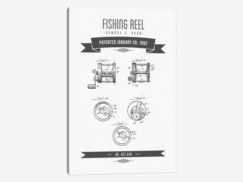 Samuel L. Bean Fishing Reel Patent Sketch Retro (Charcoal) by Aged Pixel 1-piece Canvas Print