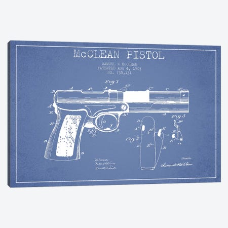 Samuel N. McClean McClean Pistol Patent Sketch (Light Blue) Canvas Print #ADP3116} by Aged Pixel Canvas Art
