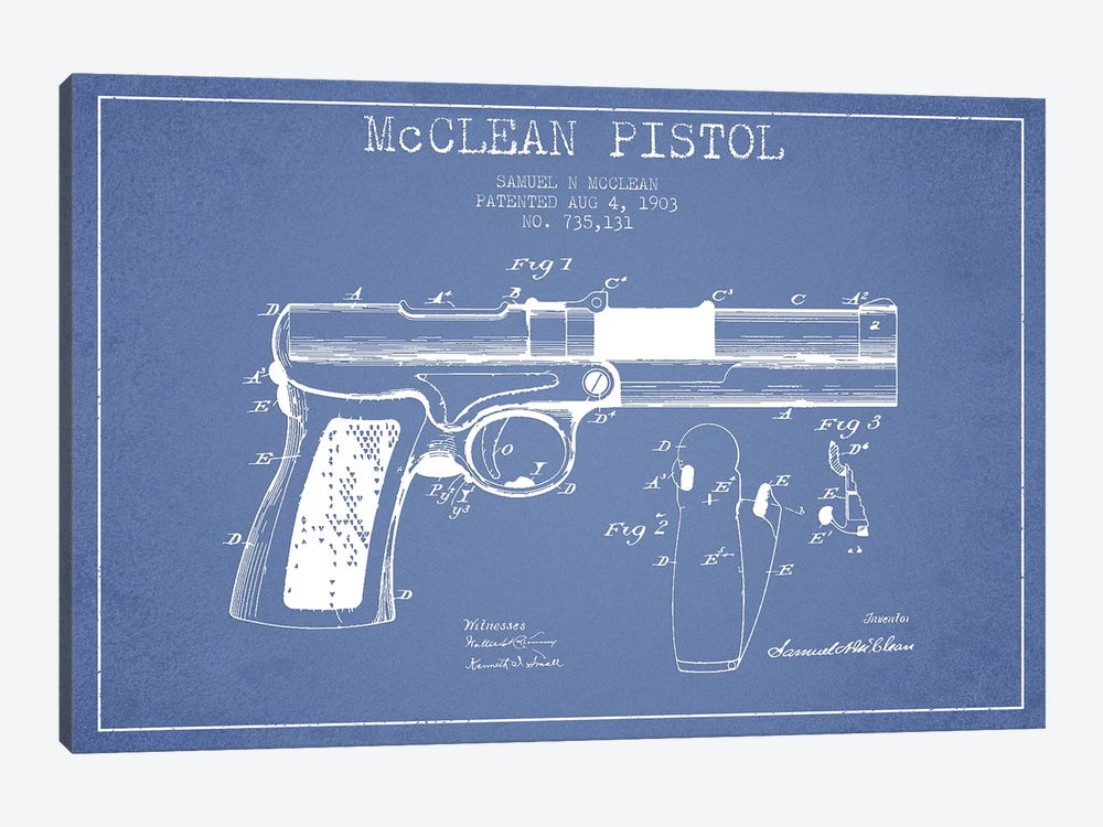 Samuel N. McClean McClean Pistol Patent Sketch (Light Blue) by Aged Pixel 1-piece Canvas Art