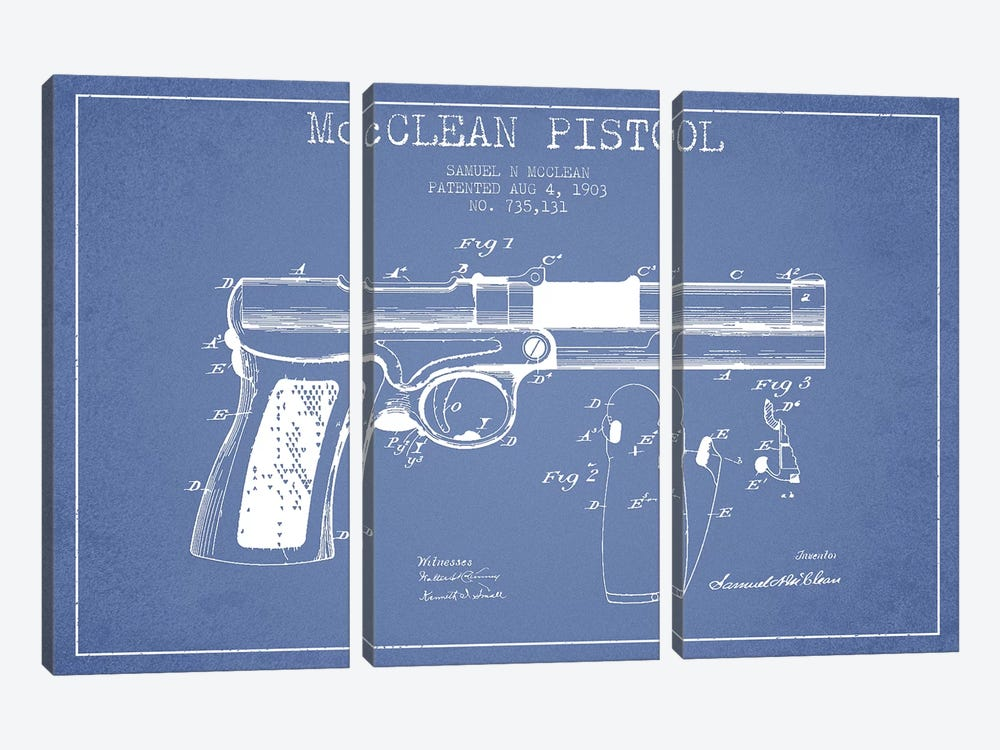 Samuel N. McClean McClean Pistol Patent Sketch (Light Blue) by Aged Pixel 3-piece Canvas Wall Art