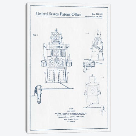 Sid Noble Toy Robot Patent Sketch (Ink) Canvas Print #ADP3120} by Aged Pixel Canvas Wall Art