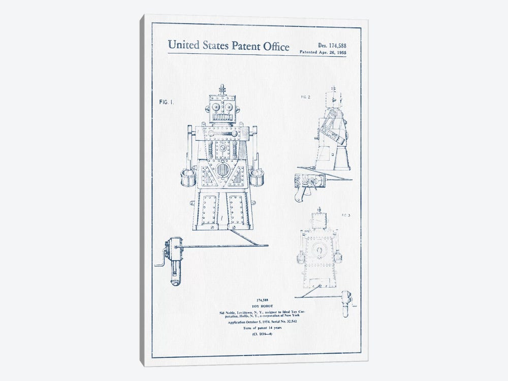 Sid Noble Toy Robot Patent Sketch (Ink) by Aged Pixel 1-piece Art Print