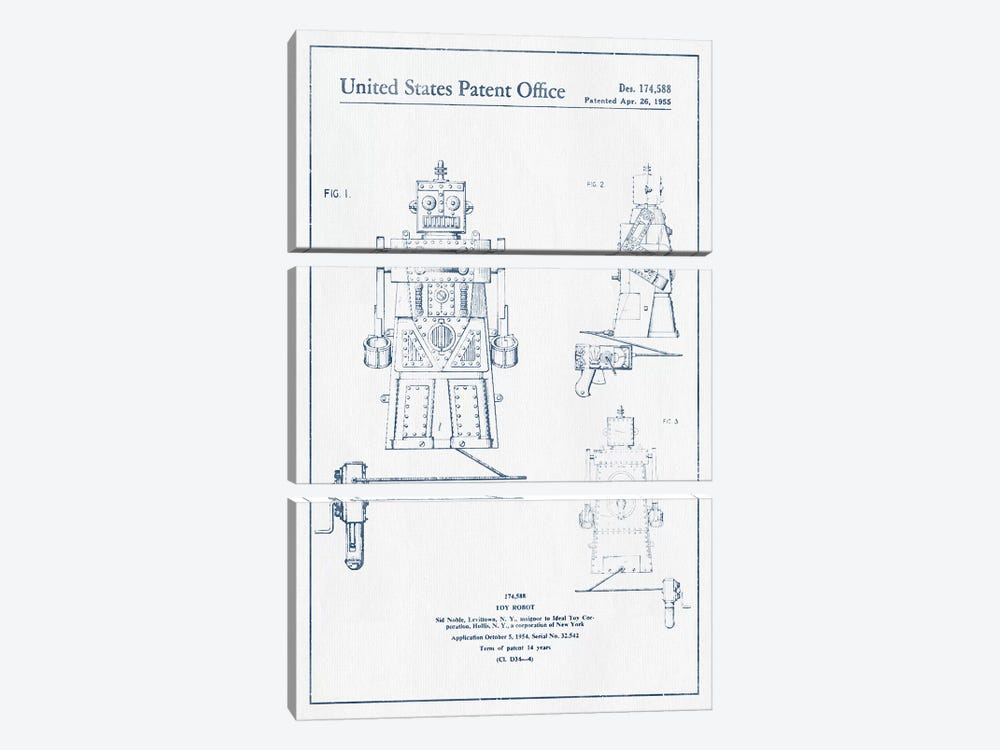 Sid Noble Toy Robot Patent Sketch (Ink) by Aged Pixel 3-piece Canvas Art Print