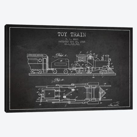 T.L. Wood Toy Train Patent Sketch (Charcoal) Canvas Print #ADP3124} by Aged Pixel Canvas Art Print