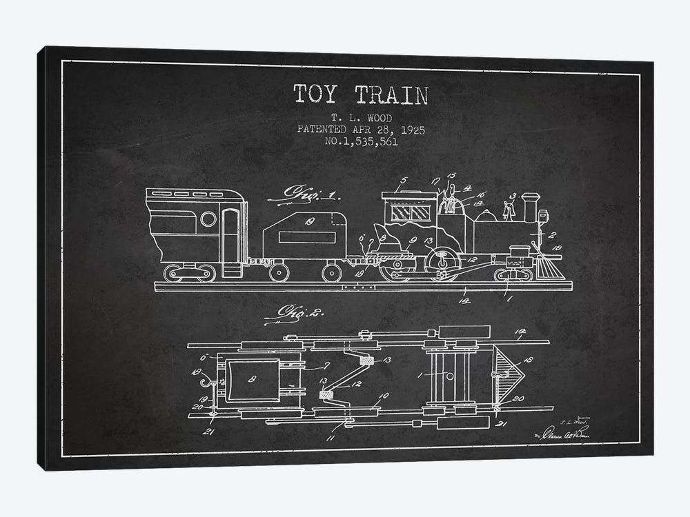 T.L. Wood Toy Train Patent Sketch (Charcoal) by Aged Pixel 1-piece Art Print