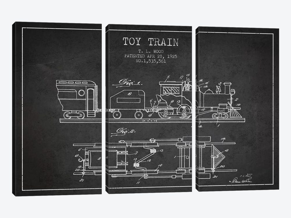 T.L. Wood Toy Train Patent Sketch (Charcoal) by Aged Pixel 3-piece Canvas Art Print