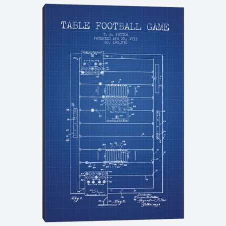 T.R. Potter Table Football Game Patent Sketch (Blue Grid) Canvas Print #ADP3125} by Aged Pixel Canvas Print
