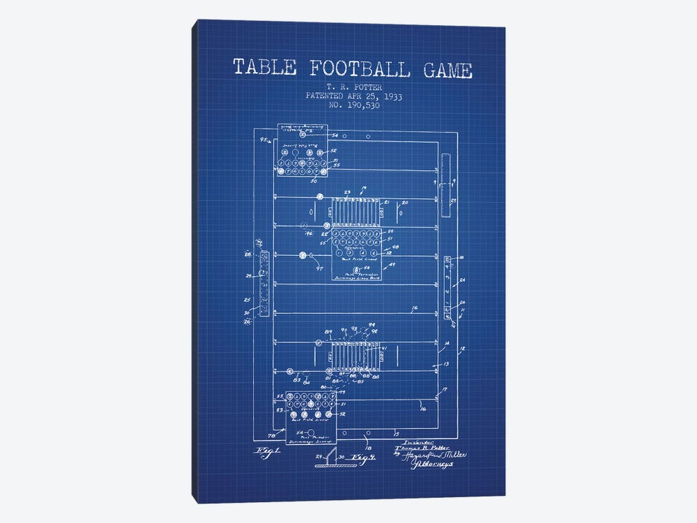 T.R. Potter Table Football Game Patent Sketch (Blue Grid) by Aged Pixel 1-piece Canvas Art