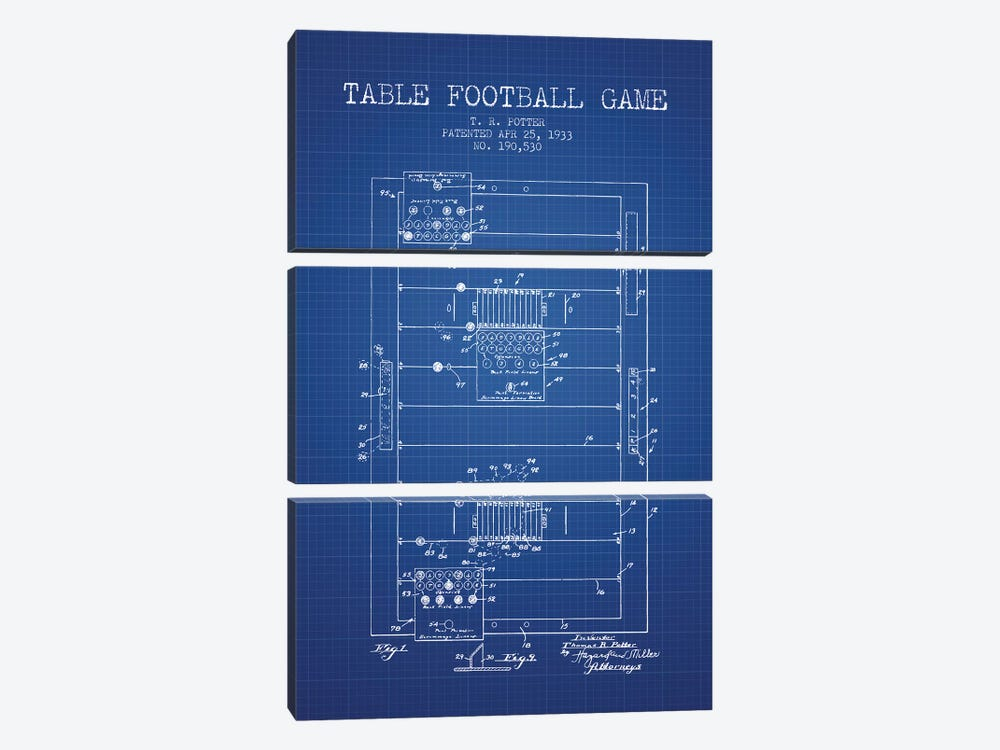 T.R. Potter Table Football Game Patent Sketch (Blue Grid) by Aged Pixel 3-piece Canvas Art