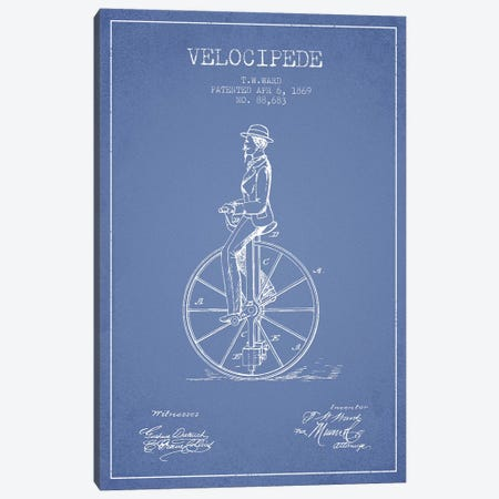 T.W. Ward Velocipede Patent Sketch (Light Blue) Canvas Print #ADP3126} by Aged Pixel Canvas Print