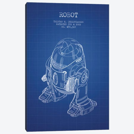 Tristan M. Christianson Robot Patent Sketch (Blue Grid) Canvas Print #ADP3136} by Aged Pixel Canvas Artwork