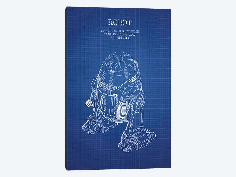 Tristan M. Christianson Robot Patent Sketch (Blue Grid) by Aged Pixel 1-piece Canvas Wall Art