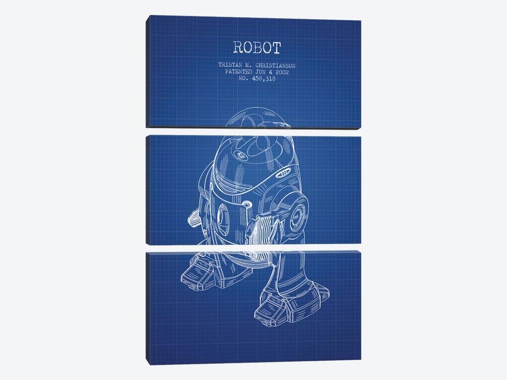 Tristan M. Christianson Robot Patent Sketch (Blue Grid) by Aged Pixel 3-piece Canvas Art