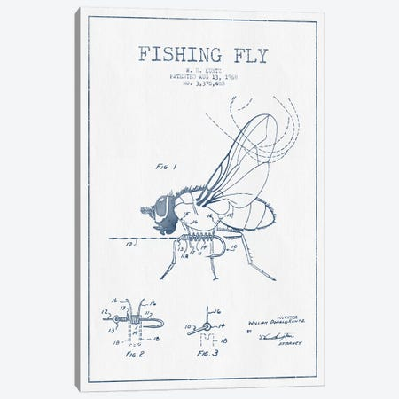 W.D. Kuntz Fishing Fly Patent Sketch (Ink) Canvas Print #ADP3138} by Aged Pixel Art Print