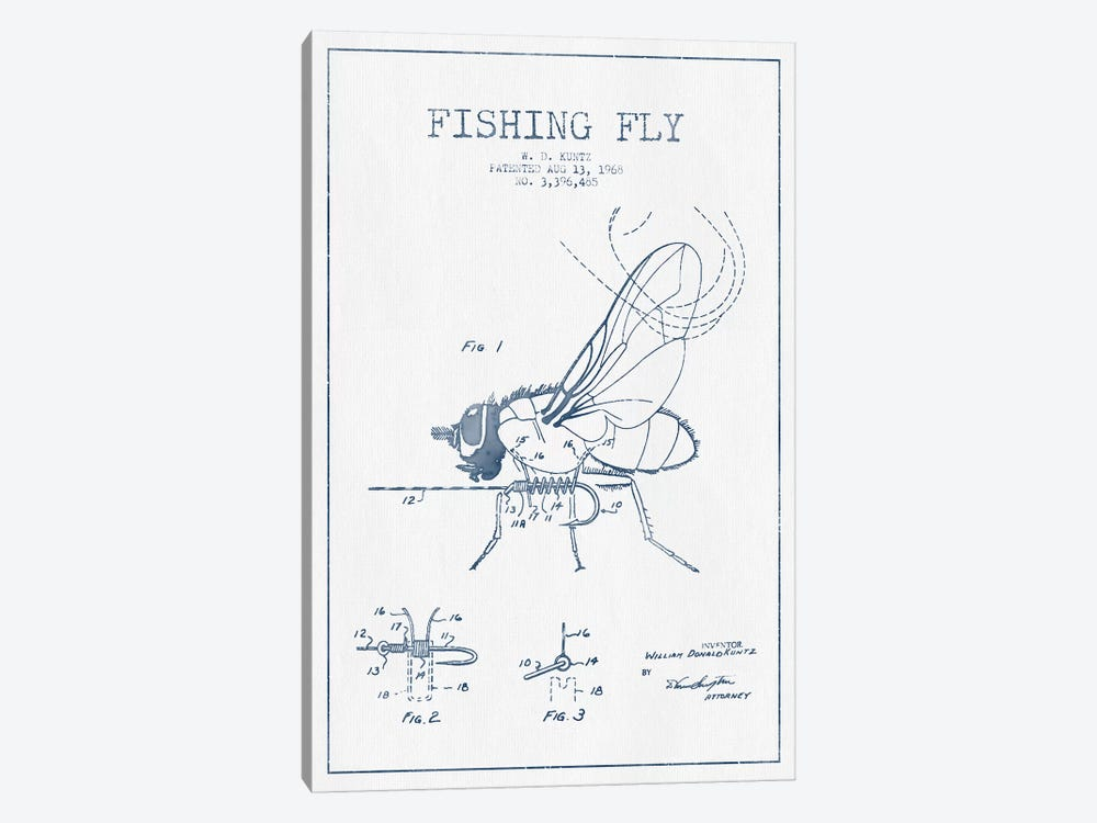 W.D. Kuntz Fishing Fly Patent Sketch (Ink) by Aged Pixel 1-piece Canvas Wall Art