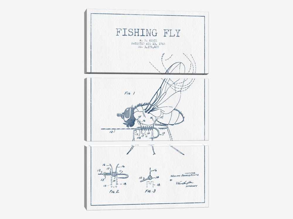 W.D. Kuntz Fishing Fly Patent Sketch (Ink) by Aged Pixel 3-piece Canvas Art