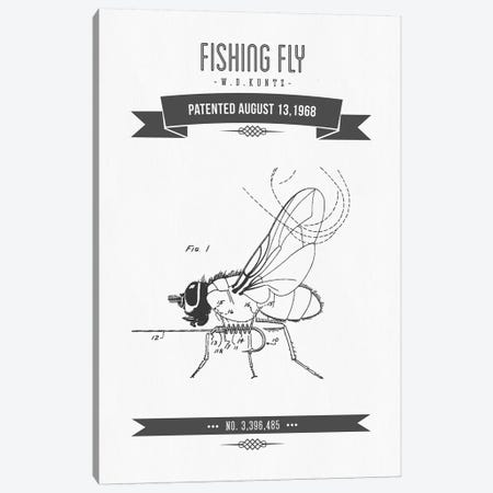 W.D. Kuntz Fishing Fly Patent Sketch Retro (Charcoal) Canvas Print #ADP3139} by Aged Pixel Canvas Print