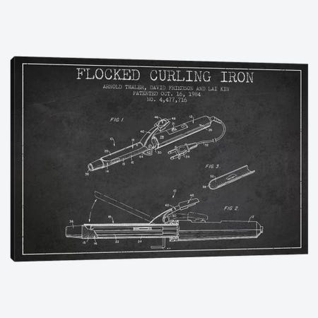 Flocked Curling Iron Charcoal Patent Blueprint Canvas Print #ADP313} by Aged Pixel Canvas Print