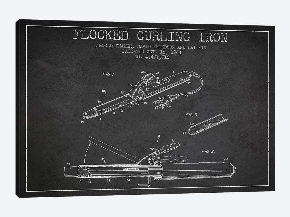 Flocked Curling Iron Charcoal Patent Blueprint by Aged Pixel 1-piece Art Print