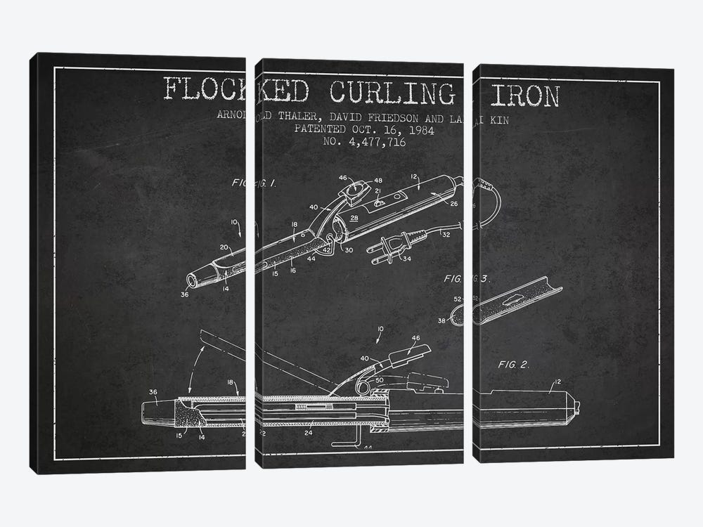Flocked Curling Iron Charcoal Patent Blueprint by Aged Pixel 3-piece Art Print