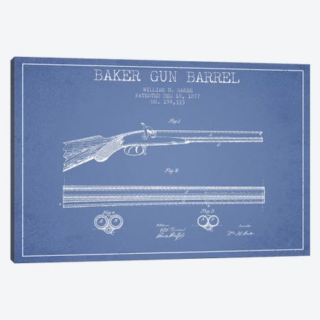 W.H. Baker Baker Gun Barrel Patent Sketch (Light Blue) Canvas Print #ADP3140} by Aged Pixel Canvas Art