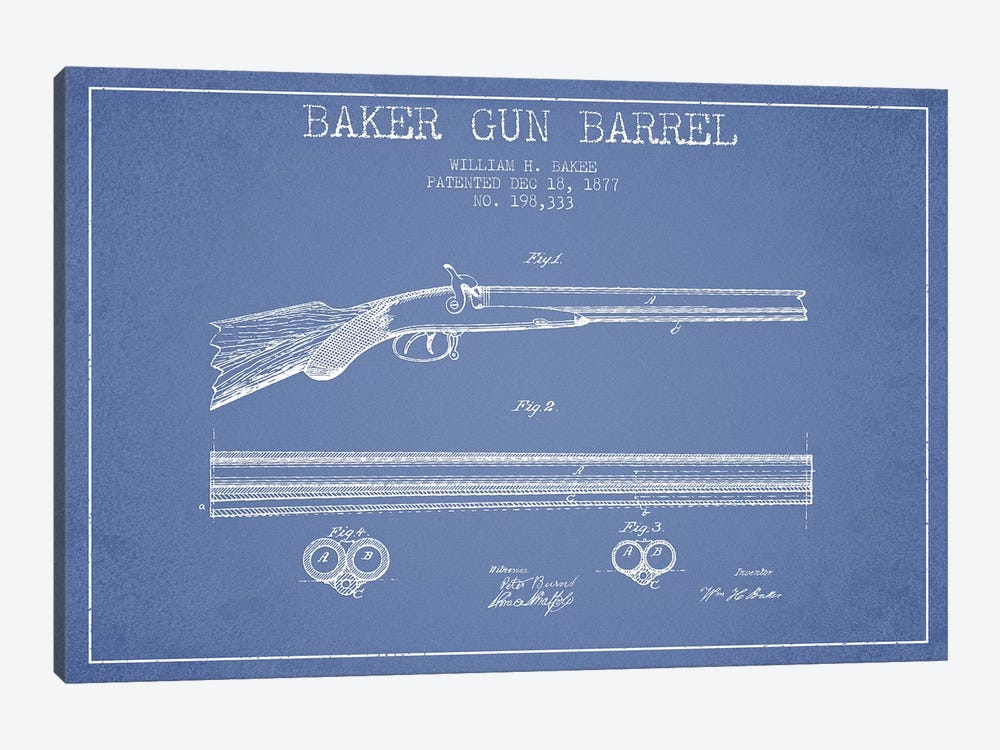 W.H. Baker Baker Gun Barrel Patent Sketch (Light Blue) by Aged Pixel 1-piece Canvas Art Print