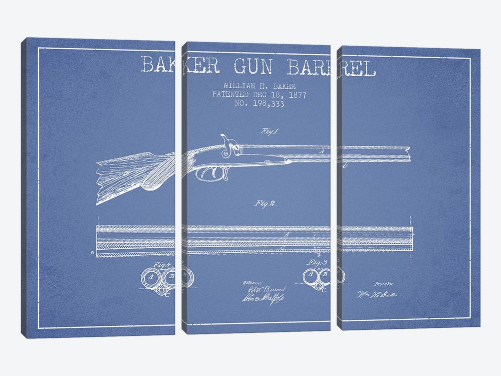 W.H. Baker Baker Gun Barrel Patent Sketch (Light Blue) 3-piece Canvas Art Print