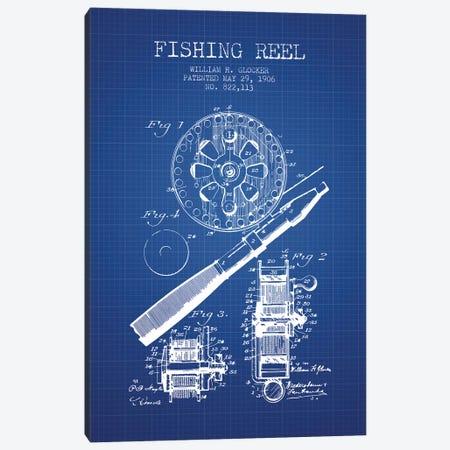 W.H. Glocker Fishing Reel Patent Sketch (Blue Grid) Canvas Print #ADP3141} by Aged Pixel Canvas Wall Art