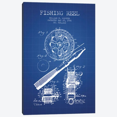 W.H. Glocker Fishing Reel Patent Sketch (Blue Grid) Canvas Print #ADP3141} by Aged Pixel Canvas Wall Art