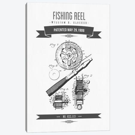 W.H. Glocker Fishing Reel Patent Sketch Retro (Charcoal) Canvas Print #ADP3142} by Aged Pixel Canvas Artwork